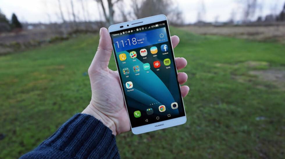SJUER med «S»: Huawei forventes å komme med en ny versjon av Ascend Mate 7.  Foto: PÅL JOAKIM OLSEN