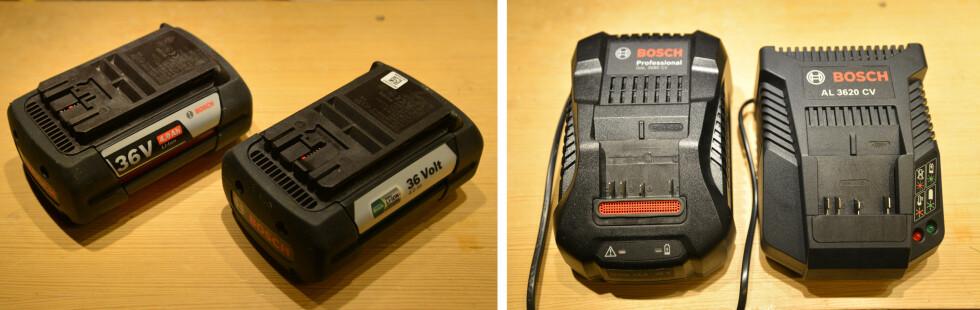 <strong><b>BATTERI OG LADER:</strong></b> Batteriet er det samme som i proffmaskinene, men laderen er ikke så kraftig. Foto: BRYNJULF BLIX