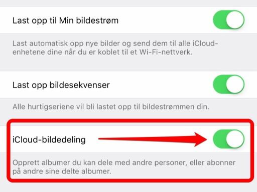 GÅ TIL ICLOUD-INNSTILLINGENE: Du må skru på bildedeling for å dele album i iCloud. Foto: KIRSTI ØSTVANG