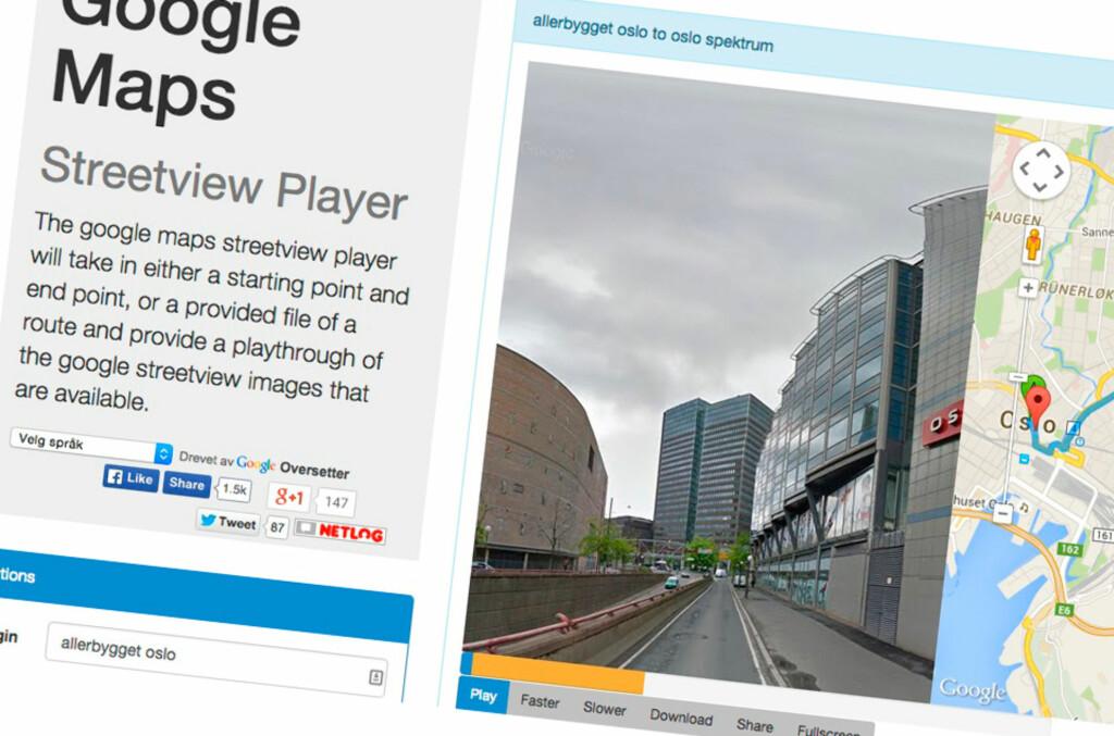 <strong>EN SLAGS VIDEO:</strong> Via tjenesten Street View player kan du se en video av hvordan du kjører fra A til B. Foto: PÅL JOAKIM OLSEN
