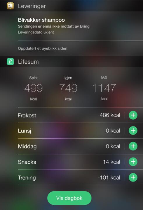NÅR KOMMER PAKKEN? Leveringer (øverst) gir deg full oversikt. Nederst kan du se Lifesum-widgeten. Foto: KIRSTI ØSTVANG