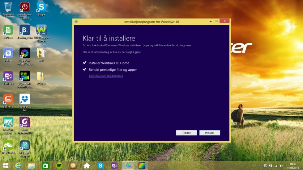 Oppgraderingen til Windows 10 kan gjøres online, og er gratis.