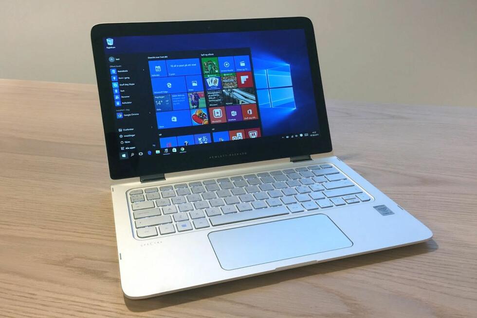 Solide saker: HP har laget en meget god hybrid i Spectre X360, men den skinner først og fremst som PC. Foto: Bjørn Eirik Loftås