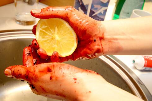 TESTVINNER:  Sammen med youghurten, var det sitronen som fjernet flest blåbærflekker. Foto: OLE PETTER BAUGERØD STOKKE