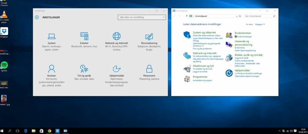 Forvirrende: Ett av de største ankepunktene våre mot Windows 10 er at Microsoft har valgt å beholde det gamle kontrollpanelet i tillegg til Innstillinger.