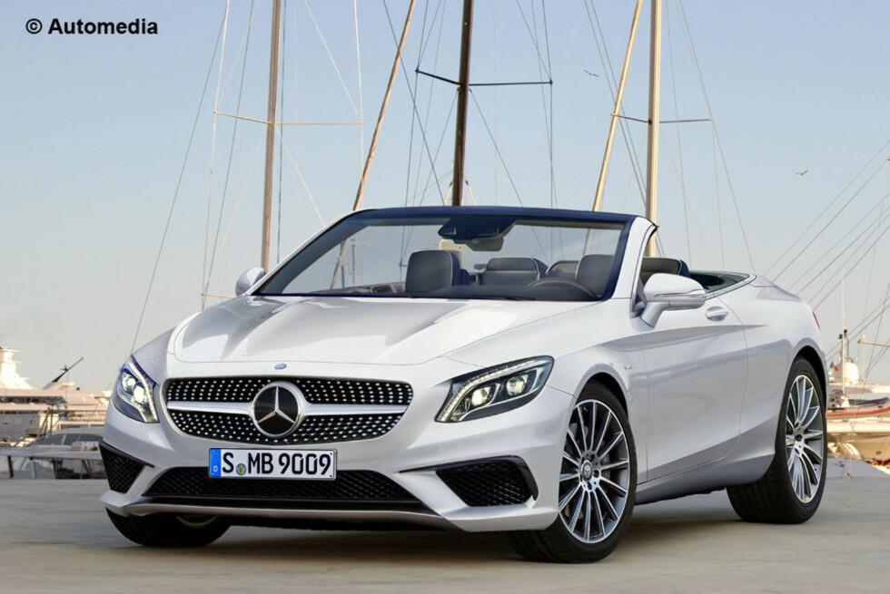 LUKSUS-CAB: Det er bekreftet, Mercedes-Benz skal lansere sin S-klasse som kabriolet. Basert på observasjoner av et lett kamuflert eksemplar ute på veien, har Automedia laget dette illustrasjonsbildet. Foto: AUTOMEDIA