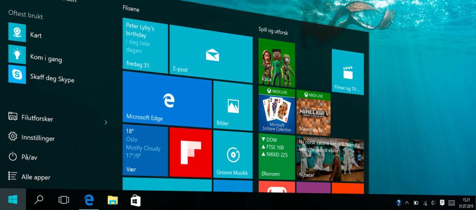 <strong><strong>ENDELIG TILBAKE:</strong></strong> Startmenyen forsvant i Windows 8, men er nå tilbake i Windows 10. Foto: PÅL JOAKIM OLSEN
