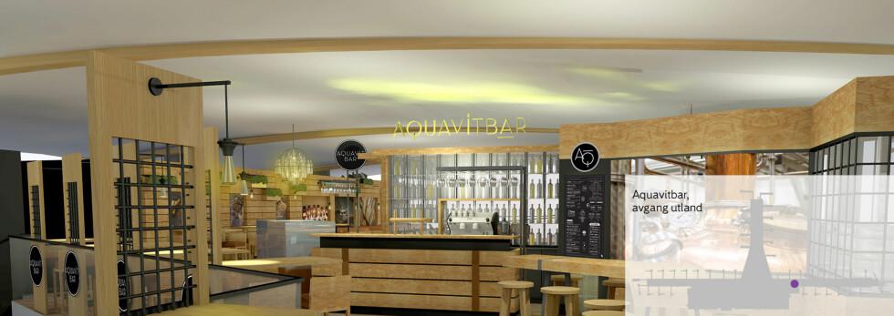 Akevittbaren: Tilbyr et utvalg av akevitt, lokale ølsorter fra Norge, samt kaffedrikker og eplemost. Foto: INTERIØRPLAN AS