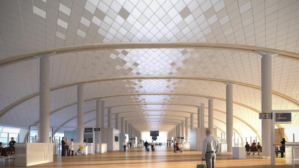 SLIK BLIR DET: Avgangshallen i den nye terminalen, T2. Foto: NORDIC OFFICE OF ARCHITECTURE/OSLO LUFTHAVN