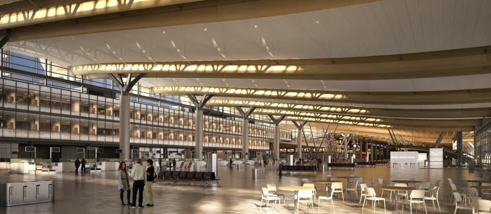 NYE SERVERINGSSTEDER PÅ «NYE OSLO LUFTHAVN»: Antallet serveringssteder skal gå opp fra 20 til 37 når «nye Oslo Lufthavn» åpner i april 2017. Det beste for forbrukerne er at flere aktører bør bety økt konkurranse på pris og utvalg. Foto: NORDIC OFFICE OF ARCHITECTURE/OSLO LUFTHAVN