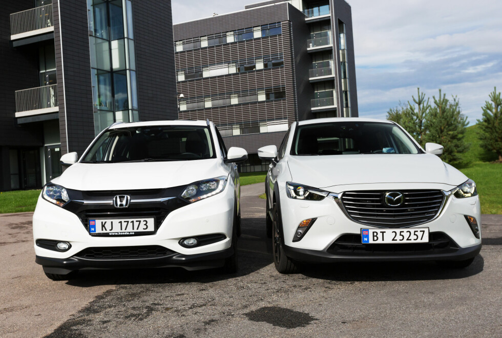 <strong><b>DUELL:</strong></b> Honda mot Mazda - CX-3 mot HR-V. Foto: KASPER VAN WALLINGA