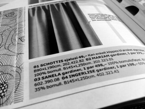<strong><b>KVINNELIGE TEKSTILER:</strong></b> Skandinaviske kvinnenavn blir brukt på tekstiler. Som her, Ingerlise og Miriam. Foto: KRISTIN SØRDAL