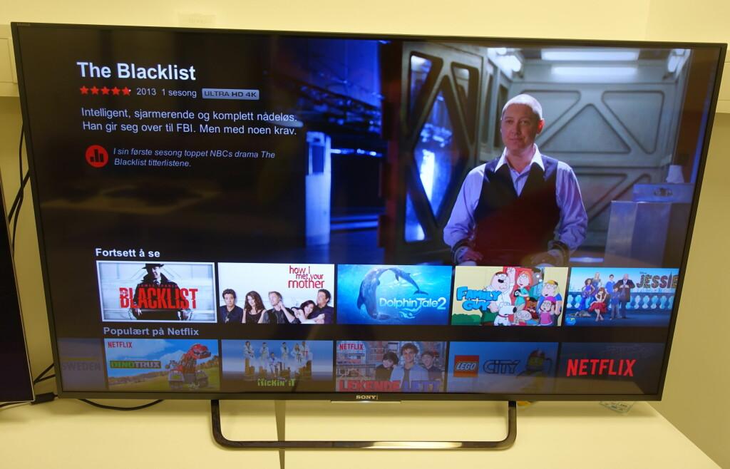 X8505C; Den innebygde Netflix-appen gir deg 4K dersom nettet ditt er raskt nok. Men skal du ha nytte av det i denne størrelsen må du sitte nærmere enn tre meter. Foto: ØYVIND PAULSEN
