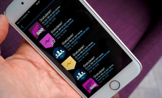 MEDALJEFEST: Garmin-appen belønner deg med ulike medaljer. Det er gøy, selv om vi synes medaljene som Fitbit feirer aktivitetene dine med er mye mer inspirerende. FOTO: KRISTIN SØRDAL