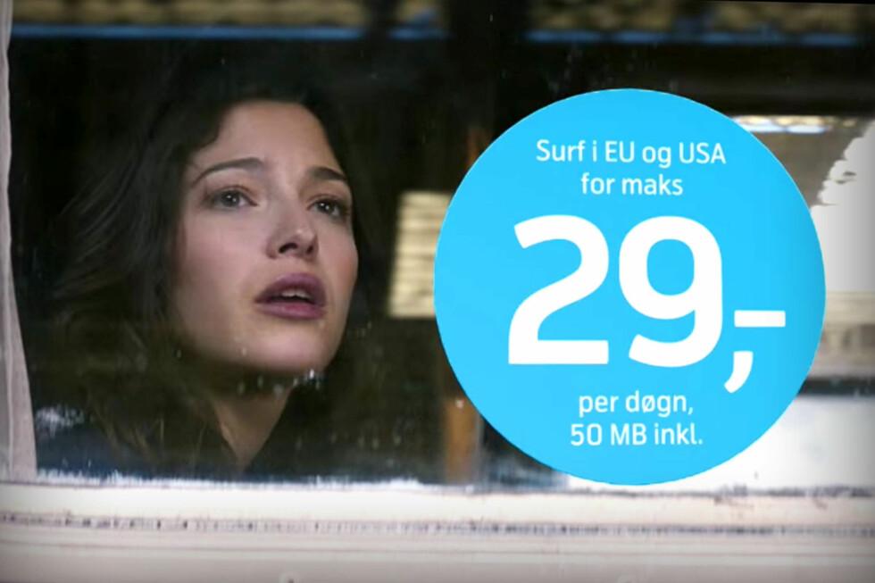 OLALA: Den franske kvinnen i Telenor-reklamene må stadig gi tapt for Telenors surfepriser. Men hvor gode er de egentlig? Foto: TELENOR PÅ YOUTUBE