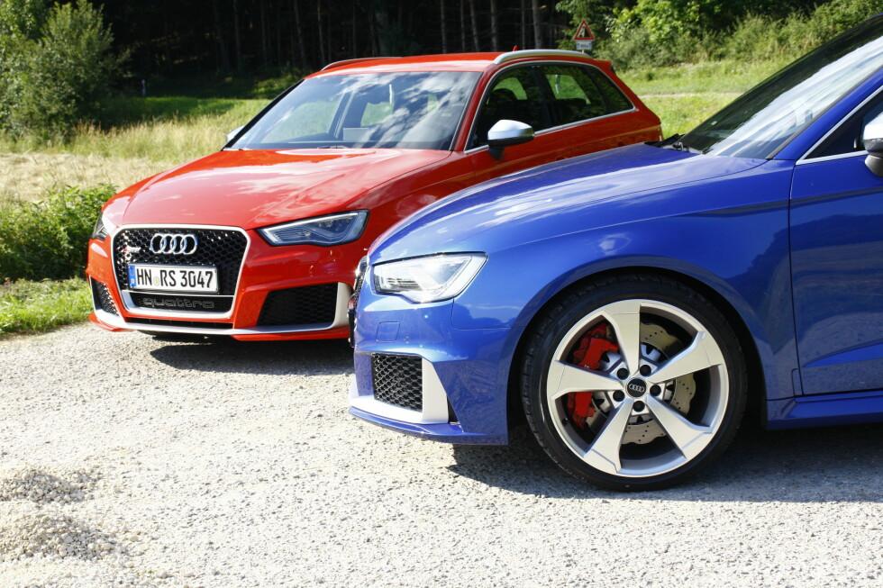<strong><B>RØD:</strong> </B>Paletten inneholder åtte fargemuligheter. Catalunya rød metallic er eksklusiv for Audi RS3 Sportback. Foto: ESPEN STENSRUD