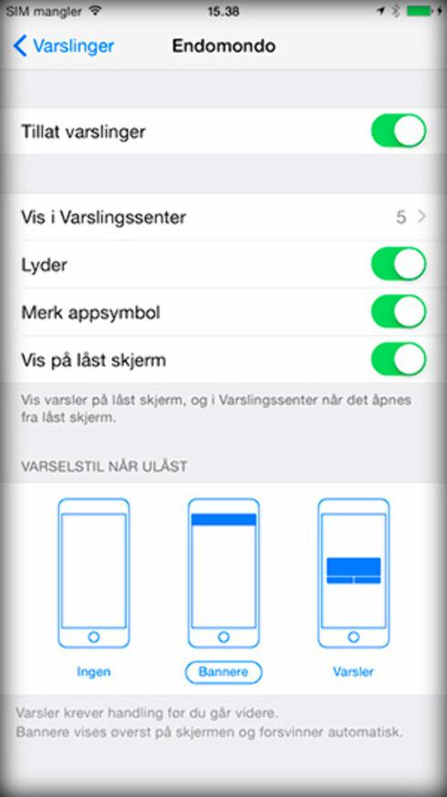 FINJUSTÉR: iOS lar deg fritt styre hvilke apper som skal få varsle deg og hvordan de får gjøre det.