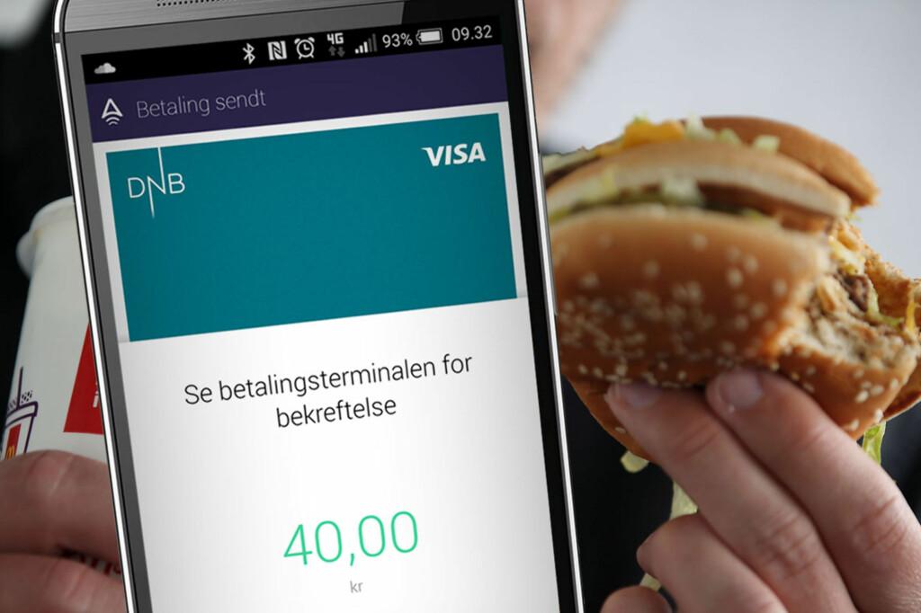<B>BURGER MED MOBILEN: </b>På blant annet McDonald's kan du nå handle med mobilen, om du har Valyou. Men hvor bra fungerer det i praksis? Foto: OLE PETTER BAUGERØD STOKKE / DPA / NTB SCANPIX