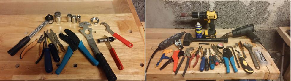 HVA TRENGER DU? Verktøyet vi trodde vi trengte til venstre - det vi faktisk brukte til høyre... Foto: BRYNJULF BLIX