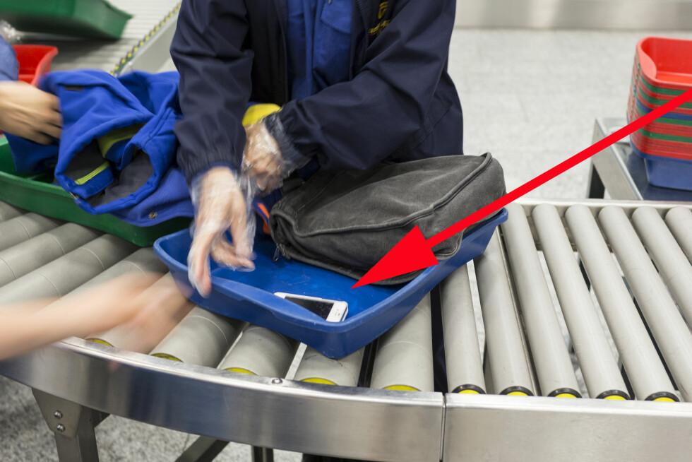 ØKNING I TYVERIER PÅ FLYPLASSEN: Ikke la klokker og verdisaker ligge synlig i boksene gjennom sikkerhetskontrollen, legg dem heller under noe annet. Og hold øynene på bagasjen din til enhver tid, oppfordrer Oslo Lufthavn. Foto: KEYSTONE/NTB SCANPIX