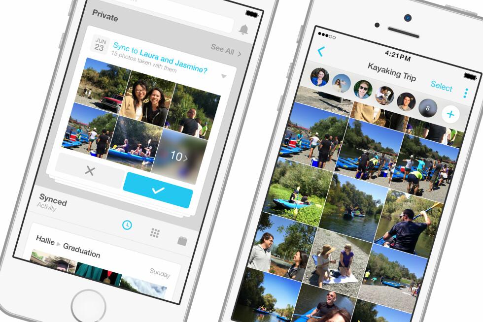 DEL ØYEBLIKKENE: Her er Facebooks nye app, Moments.  Foto: FACEBOOK