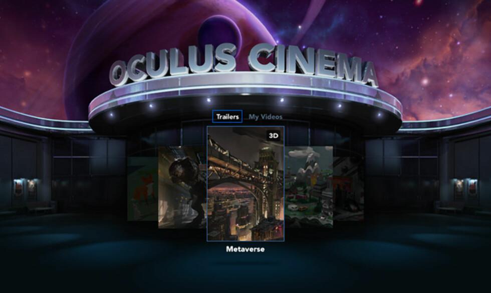 KINOSAL: Oculus Cinema lar deg se filmer du har lagret på telefonen som om du satt i en kinosal.