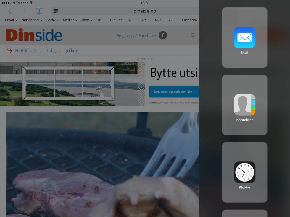 70/30: Du kan velge om du vil åpne en enda en app i en smal visning. Foto: KIRSTI ØSTVANG