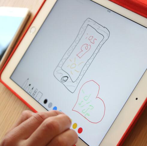 IKKE BARE FOR TEKST: Apples notat-app får tegnemuligheter.  Foto: KIRSTI ØSTVANG