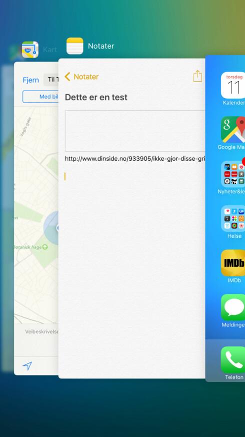 NY APP-SVITSJER: Men du drar fortsatt appen opp av skjermen for å avslutte den. Foto: KIRSTI ØSTVANG