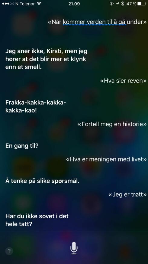 MORSOM: Apple har utstyrt taleassistenten med en rekke svar som kan få deg til å le. De har også latt seg oversette til norsk. Foto: KIRSTI ØSTVANG