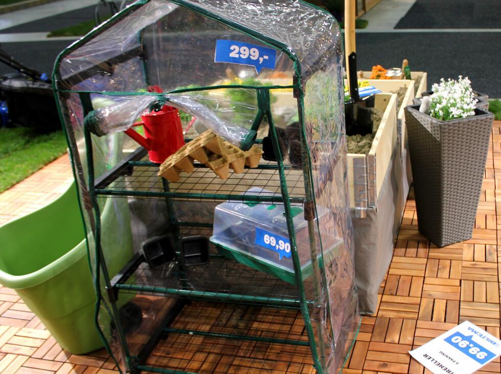 BILTEMA: Miniveksthus som dette er det mange som selger, dette er fra Biltema og koster 299 kroner. Foto: KRISTIN SØRDAL