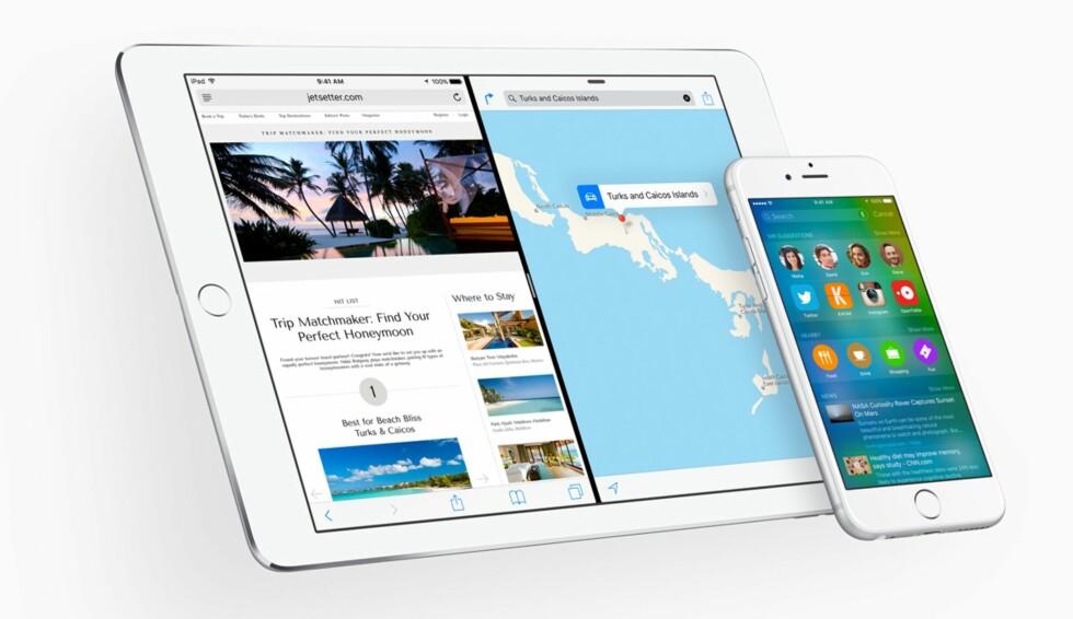SPLITTET SKJERM: Har du iPad Air 2 kan du kjøre to apper ved siden av hverandre i iOS9, som kommer til høsten.