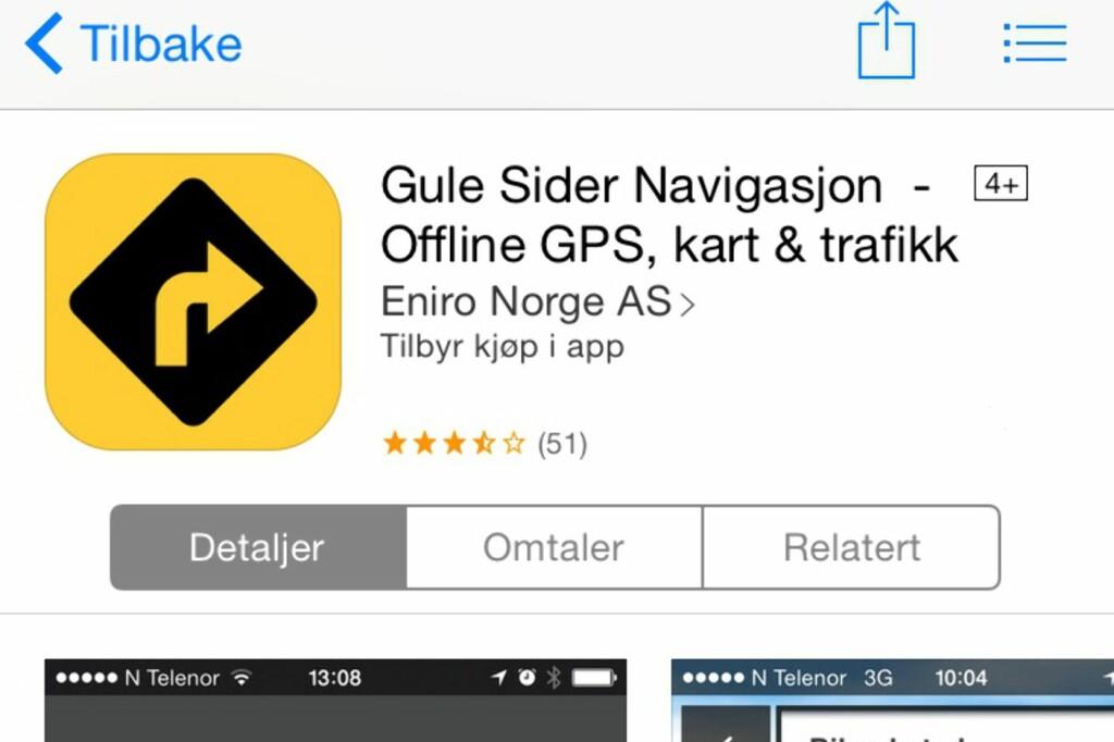 <b>SØK UTEN NETT:</b> Gule Sider navigasjon lar deg søke uten nett. Du kan også søke på personer, bedrifter og restauranter.  Foto: MORTEN MOUM