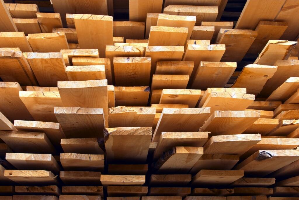 SJEKK HER FØR DU KJØPER: Kontroller hvilken vei årringene vender, før du plukker med deg panelbord fra trelasten.  Foto: SAMFOTO/NTB SCANPIX