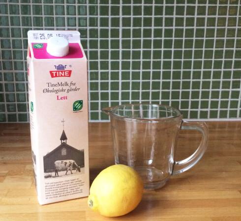 MELK OG SYRE: Du trenger bare to ingredienser. Foto: ELISABETH DALSEG