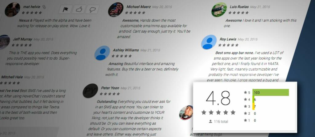 <strong>GODE SKUSSMÅL:</strong> SMS-appen Yaata vurderes høyt av brukerne som har lastet den ned fra Play Butikk. Foto: PÅL JOAKIM OLSEN