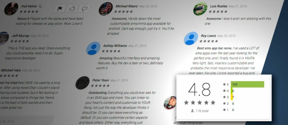 GODE SKUSSMÅL: SMS-appen Yaata vurderes høyt av brukerne som har lastet den ned fra Play Butikk. Foto: PÅL JOAKIM OLSEN