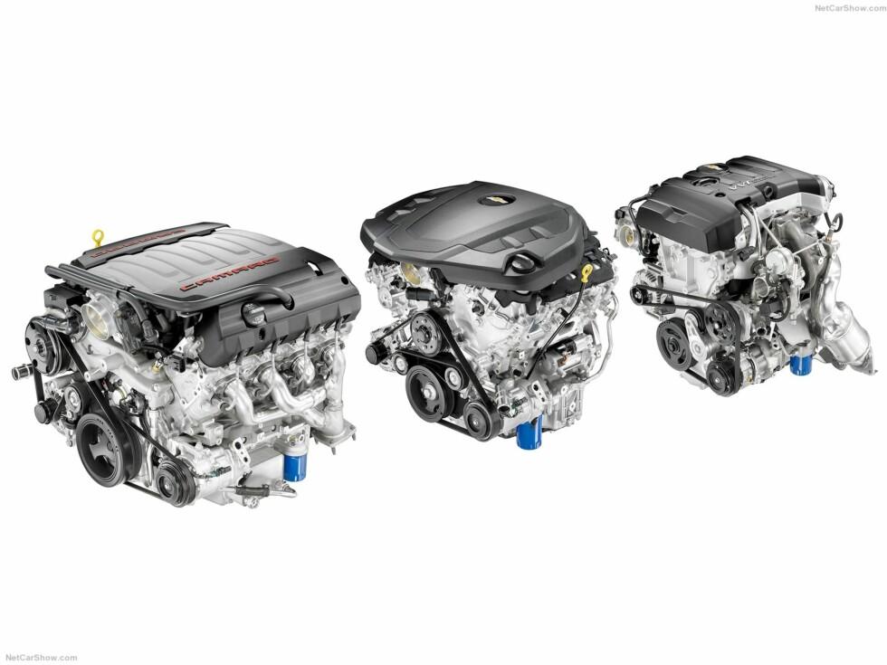 TENKER FORBRUK: Chevrolet har utviklet tre nye å forbruksvennlige motorer til den nye modellen. De melder at den minste motoren 2.0L Turbo vil ha et snittforbruk på 0.78 liter per mil ved kjøring på motorvei.  Foto: CHEVROLET