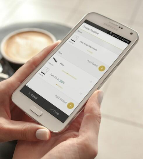 STYRING VIA APP:  Med Yonomi-appen kan du ta fyll styring over dingsene i hjemmet. Foto: PRETTY SMART HOMES