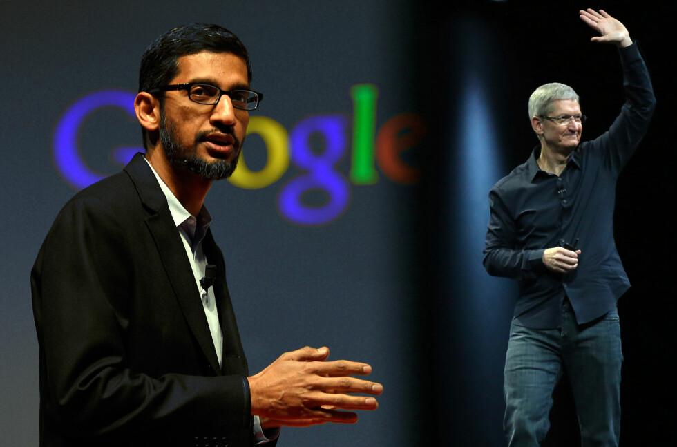 GOOGLE VS APPLE: De neste par ukene kommer nyheter både fra Googles Sundar Pichai (til venstre) og Apples Tim Cook (til høyre) når utviklerkonferansene Google I/O og Apple WWDC går av stabelen. Foto: SCANPIX