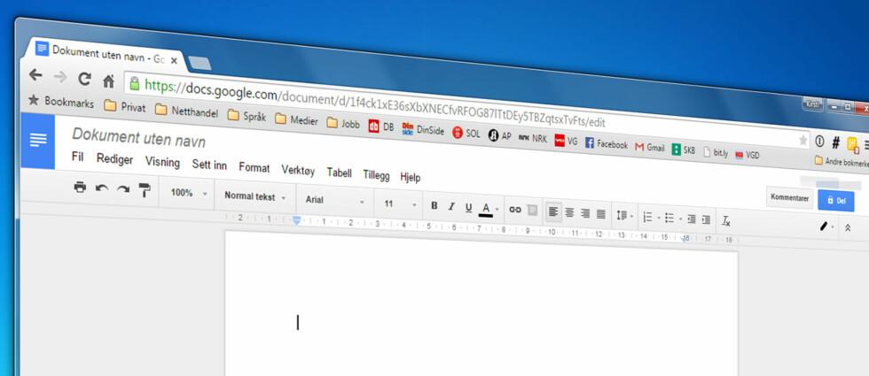 GODT OG GRATIS: Googles dokumentbehandlingsverktøy er ikke det mest avanserte som finnes, men har likevel flere kjekke funksjoner som gjør det verdt å bruke. Foto: KIRSTI ØSTVANG