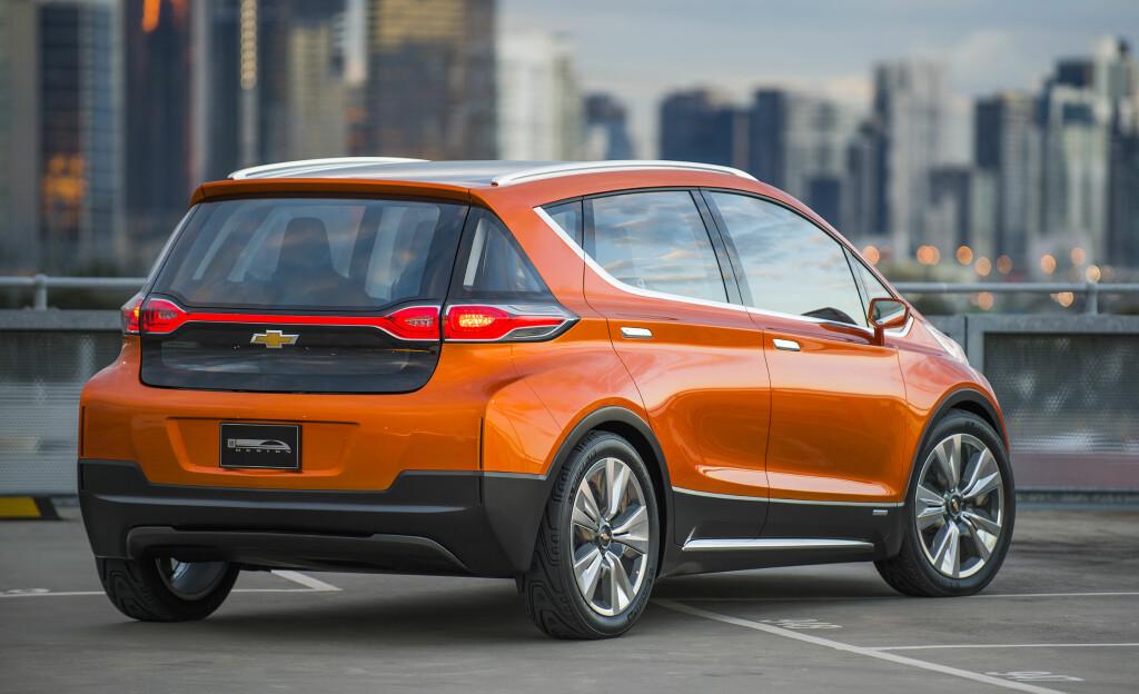 2015 CHEVROLET BOLT EV CONCEPT: Opel kunne nok godt tenke seg denne for Europa. Oppgitt rekkevidde er 320 km. Vi krysser fingrene...  Foto: GENERAL MOTORS