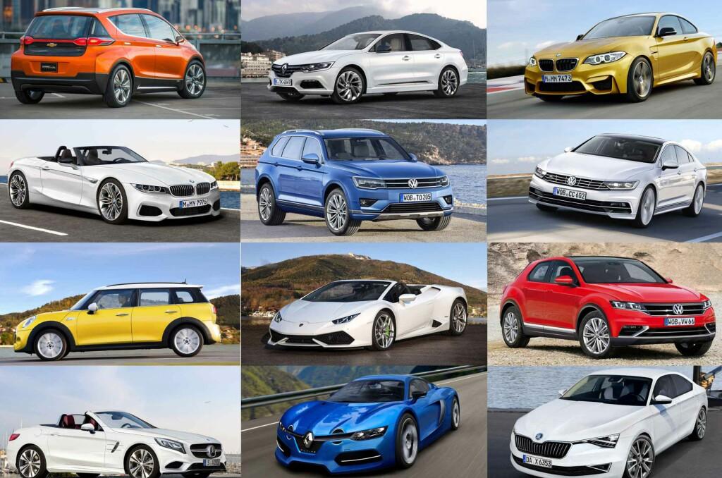 <b>KOMMENDE/PLANLAGTE MODELLER:</b> Linje for linje fra venstre, ser vi Chevrolet (Opel...?) Bolt, Renault Laguna, BMW M2, BMW Z5 Roadster, VW Touareg 2017, VW Passat CC, Mini Clubman, Lamborghini Huracan Spider, VW-SUV basert på Polo (navn ukjent), Mercedes-Benz SLC, Alpine, Skoda Octavia Coupé. Foto: AUTOMEDIA / GENERAL MOTORS