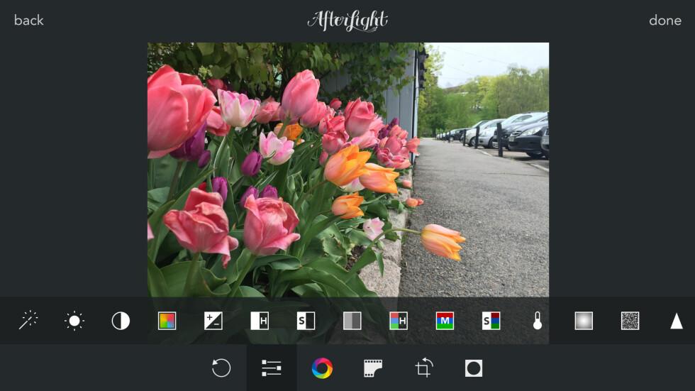 ALLSIDIG: Afterlight har det meste som trengs for å ta og redigere bilder på mobilen. Appen er både pen og brukervennlig. Foto: KIRSTI ØSTVANG