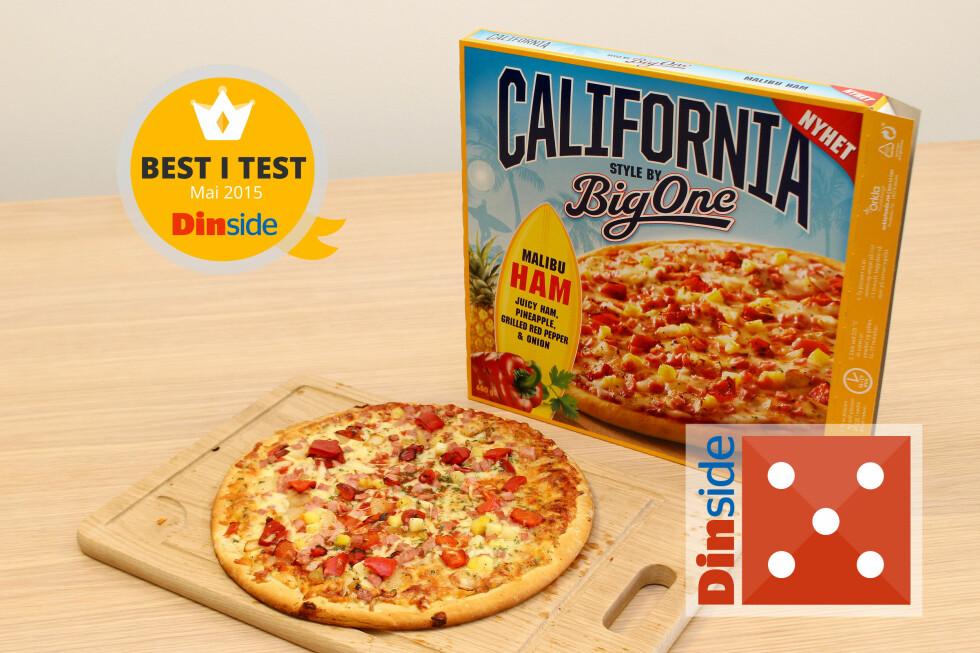 ALT STEMMER: Malibu-pizzaen fra BigOne har sprø bunn og frisk smak. Best i test! Foto: OLE PETTER BAUGERØD STOKKE