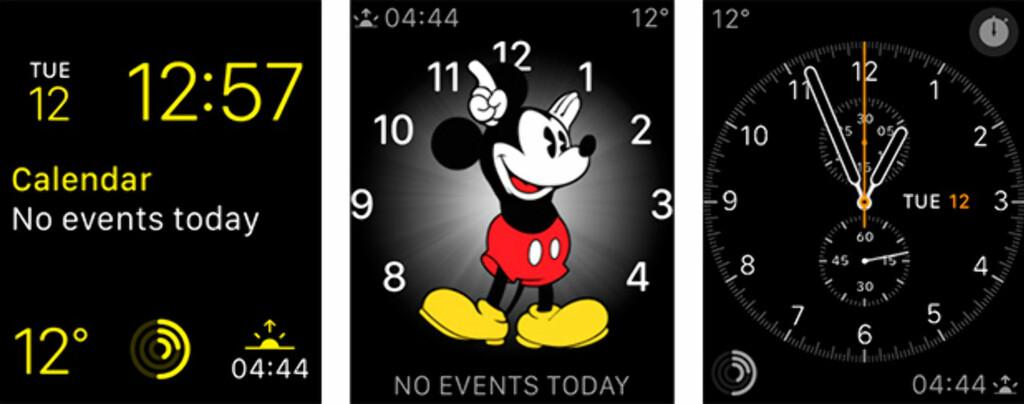 FLERE VARIANTER: Men det er bare Apples egne klokkeansikter som kan brukes; ikke fra tredjeparter.