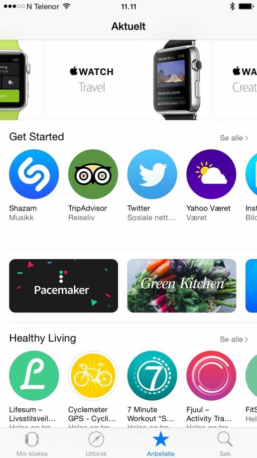 APP STORE: Via Apple Watch-appen kan du laste ned Watch-kompatible apper fra App Store.