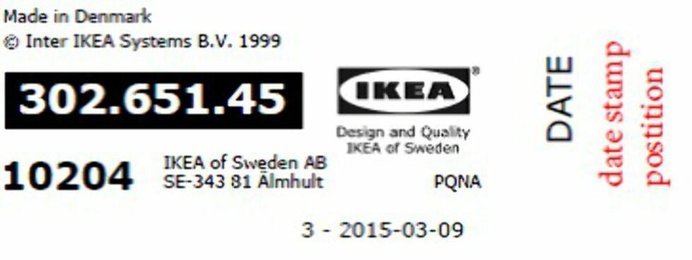 SJEKK: Sjekk datostemplingen på grunden: Den skal være merket 1510 eller tidligere. Foto: IKEA