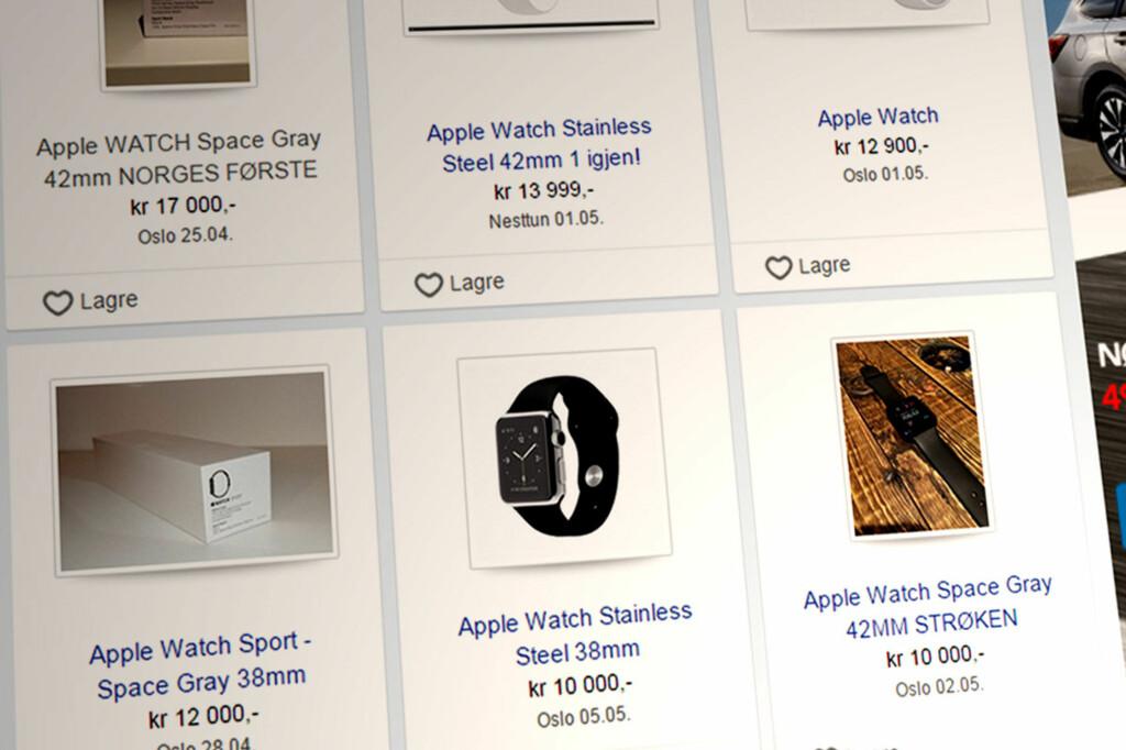 SJEKK PRISENE: Her er et utvalg av Apple Watch-klokkene som selges på Finn.no akkurat nå. Prisene er skyhøye. Foto: OLE PETTER BAUGERØD STOKKE