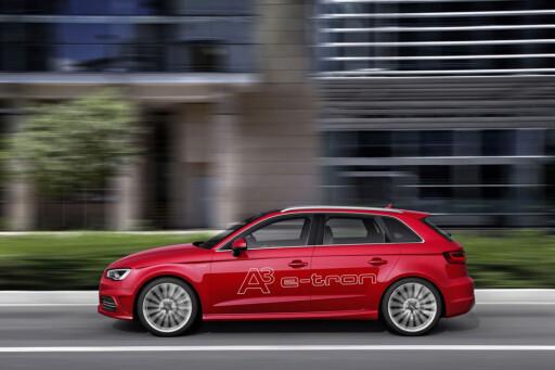 LADBAR HYBRID: Bruker Audi A3 e-tron 0,15 liter per mil? Våre tester forteller noe helt annet.  Foto: Audi